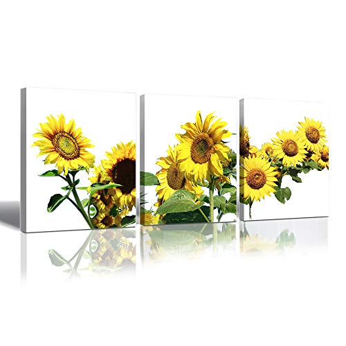 HW Hongwu Sunflower Art Photo Canvas Prints - Flower Pictures Giclee Print Canvas Wall Art Painting Stretched for Home Decor 12 x 16 Inch x 3 Panels Ready to Hang