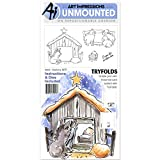 Art Impressions Mini Try'Folds Cling Rubber Stamps Nativity, 10'' x 4.5''