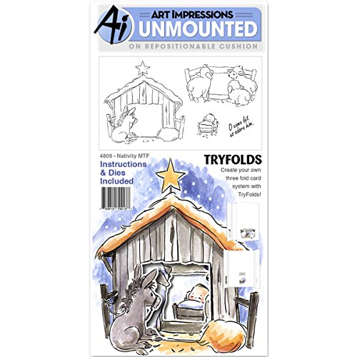 Art Impressions Mini Try'Folds Cling Rubber Stamps Nativity, 10'' x 4.5'' by Art Impressions