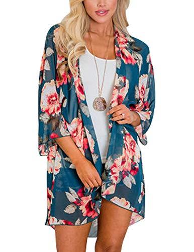 Women Floral Kimono Loose Half Sleeve Shawl Chiffon Casual Cardigan Blue - Sleeve Sweater Half