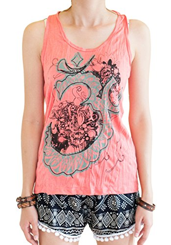 BohoHill Women's Yoga Shirt Om Flower Casual Tank Top Coral Pink (Large)