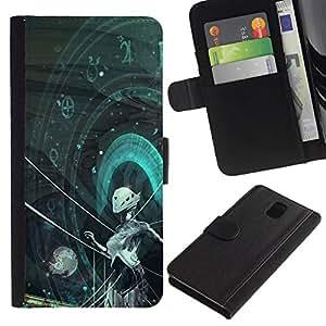 All Phone Most Case / Oferta Especial Cáscara Funda de cuero Monedero Cubierta de proteccion Caso / Wallet Case for Samsung Galaxy Note 3 III // Sci Fi Android