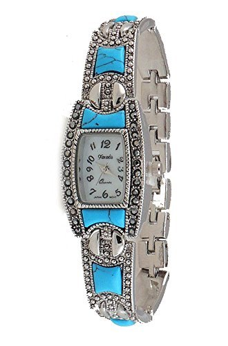 New Vintage Style Marcasite with Turquoise Ladies Silver tone Bracelet Watch