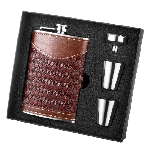 New Leather Wrap (New Scale 8oz PU Leather Wrap Brown Knitted Flask Gift Set Premium High Quality in Black Gift Box)
