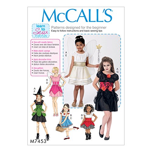 MCCALLS M7453 (SIZE 7-14) Children's/Girls' Fairy, Witch, Pirate, Angel and Character Costumes SEWING PATTERN (Child Pirate Costumes Pattern)