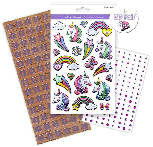 3 Packs Unicorn Scrapbook Sticker Bundle, 1 Sheet of Puffy Foil Unicorn Stickers, 1 Pk Gem Stickers, 1 Pk of Clear Epoxy Alphabet Stickers, Embellishments 3D Dimensional - 251 Stickers Total