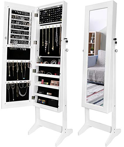 Greenco Free Standing Jewelry Organizer Armoire with Large Mirror and Led Lights, Lockable White