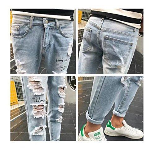 e3649c27a16 Men s Raw Edge Distressed Skinny Slim Fit Jeans Ripped Denim Pants Blue 30