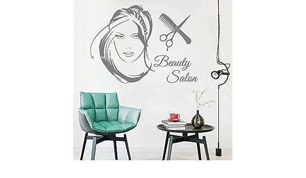Ajcwhml Nuevo salón de Belleza Logo Chica Vinilo decoración del hogar Etiqueta engomada del Arte Moda Peinado Tijeras Mujer Corte de Pelo Corte de Pelo Pared 149cm x 110cm: Amazon.es: Hogar