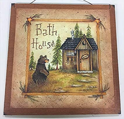 Amazon Com Bear Bath House Wooden Bathroom Wall Art Sign Cabin