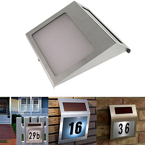 Edelstahl Hausnummernleuchte, Intsun LED Hausnummern-Leuchte, Beleuchtete Hausnummer inkl. 600 mAh AA Ni-CD Akku, Solar Außenwandleuchte mit Solar-Panel