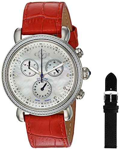 - GV2 by Gevril Marsala Womens Diamond Chronograph Swiss Quartz Red Leather Band Watch, (Model: 9804)