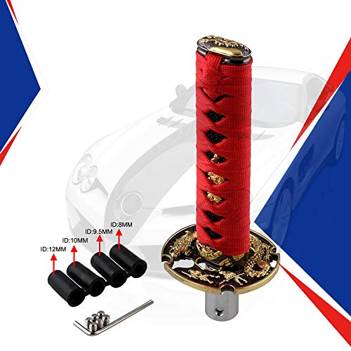 - Ruien Short Samurai Sword Shift Knob Metal Weighted Sport Katana Shifter with 4 Adapters for Universal Cars Red+Black