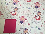 Girls Happy Birthday Mermaid + Fairy Birthday Gift Wrapping Paper 2 Sheets Wrapping Paper+1 Gift Tag (AWU)