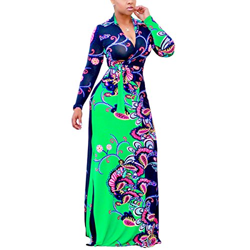 - Akmipoem Women's Plus Size Floral Print Long Sleeve Tie Waist Surplice Boho Maxi Dress