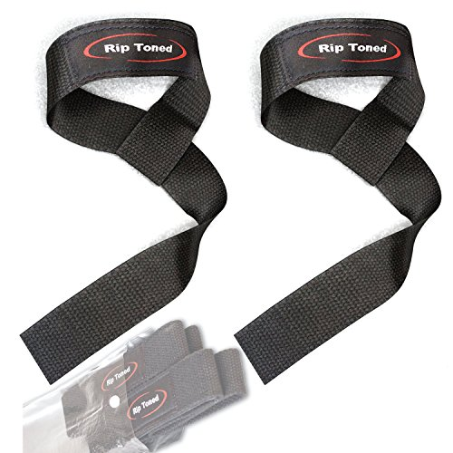 Tone Case Leather Strap (Lifting Wrist Straps by Rip Toned (Pair) - Cotton - Neoprene Padded - For Weightlifting, Bodybuilding, Xfit, Strength Training, Powerlifting, MMA)
