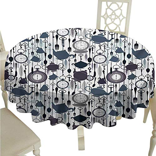 longbuyer Round Tablecloth Fitted Tea Party,Antique Crockery Elements Clocks Feathers English Victorian Tradition,Slate Blue Plum Black D60,for Accent Table