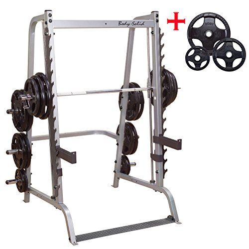 Body-Solid #GS348Q Series 7 Linear Bearing Smith Machine 165 lb Black Rubber Grip Weight Plates #ORST165