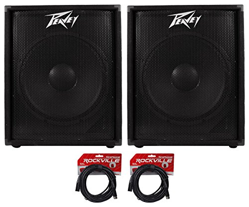 "(2) Peavey PV118D 18""A 300 Watt Active/Powered PA DJ Subwoofer Sub +FREE Cables"