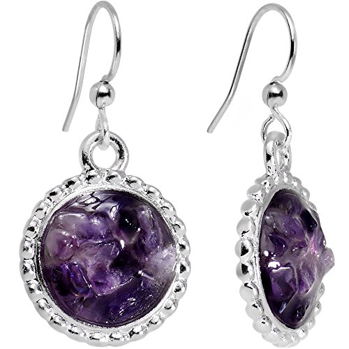 Circular Dangle Earrings (Body Candy Handcrafted Silver Plated Purple Mystery Circular Frame Dangle Earrings)