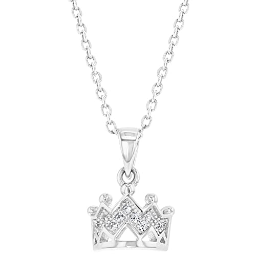 158ee31574747 925 Sterling Silver Princess Crown Necklace Pendant Girls Kids Toddlers CZ  16