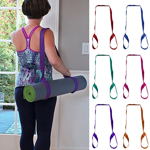 Deboc Adjustable Yoga Mat Sling Carrier Shoulder Carry Strap Belt Exercise Stretch(Purple)