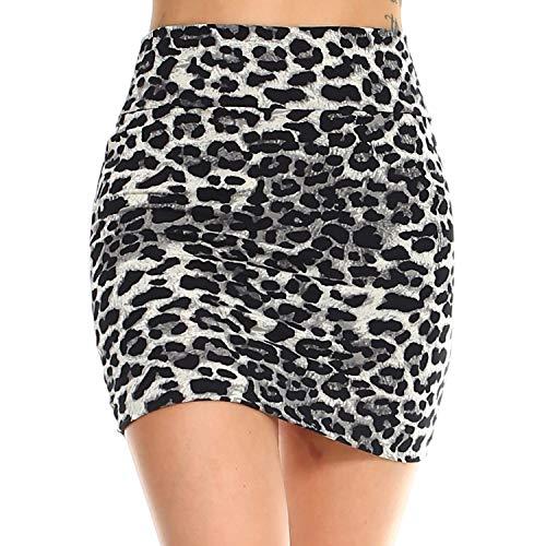 (Fashionazzle Women's Casual Stretchy Bodycon Pencil Mini Skirt (Medium, KS05-#18 Grey))