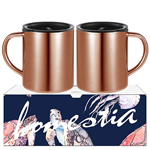 (Copper Coffee Mug Set of 2 Stainless Steel Coffee Cups Double Wall Coffee Travel Mug with Lid by Homestia 14oz)