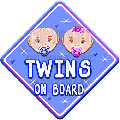 HEARTS TWINS BOY & GIRL ON BOARD non personalised baby car sign Just The Occasion