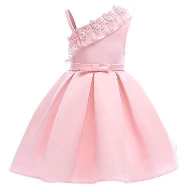 40066e1926e Tueenhuge Baby Toddler Girls Party Dress Sleeveless Bowknot Wedding  Bridesmaid Formal Princess Dress (100