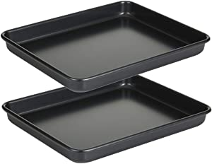 11 Inch Baking Sheets Pan Nonstick Set of 2, Walooza 1-inch Deep Baking Trays, 11X9 Inch Cookie Sheet Replacement Toaster Oven Tray, Non Toxic & Heavy Duty & Easy Clean