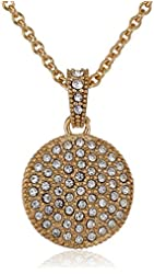 """Judith Jack """"Golden Class"""" Sterling Silver and Gold-Tone Crystal Marcasite Disc Pendant Necklace"""