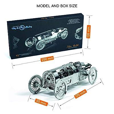 Model Car Kit - 3d model kit Silver Bullet - Moving Wind-Up Retro Car Model | 3d Puzzle for Adults - Metal DIY Kit | Beautiful Metal Model Car Collectible | DIY Construction Set of a Vintage Car: Toys & Games