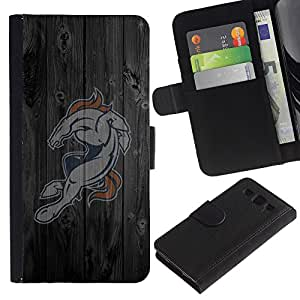 Ihec-Tech / Flip PU Cuero Cover Case para Samsung Galaxy S3 III I9300 - Horse Sports Team