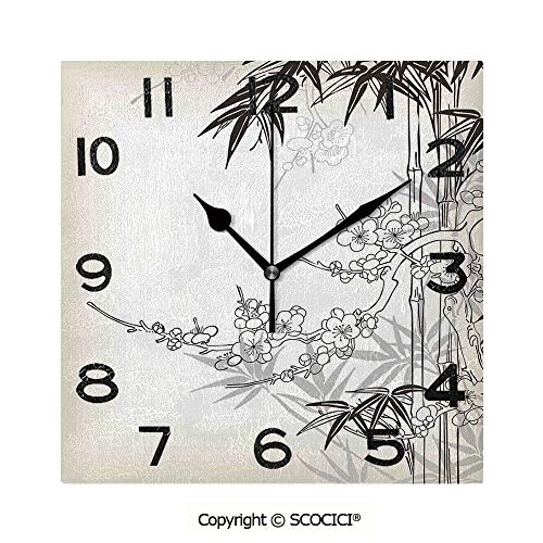 (SCOCICI Square Wall Clock Abstract Tree and Bamboo Pattern Floral Leaf Design Asian Backdrop Classic Leaf Pearls 8 inch Morden Wall Clocks Silent Square Decorative Clock )