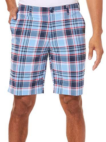 Front Short Plain Madras - Jack Nicklaus Men's Flat Front Yarn Dye Madras Short, Little boy Blue 38