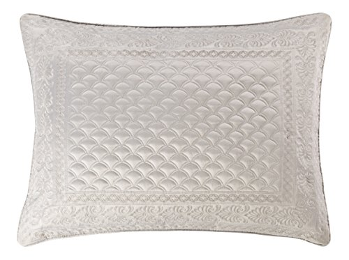 Five Queens Court Zarah Satin Damask Embroidered Pillow Sham Standard, Silver - Embroidered Boudoir Sham