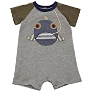 Mud Pie Baby Boys' Shortall One Piece, Fish Face, 6-9 Months