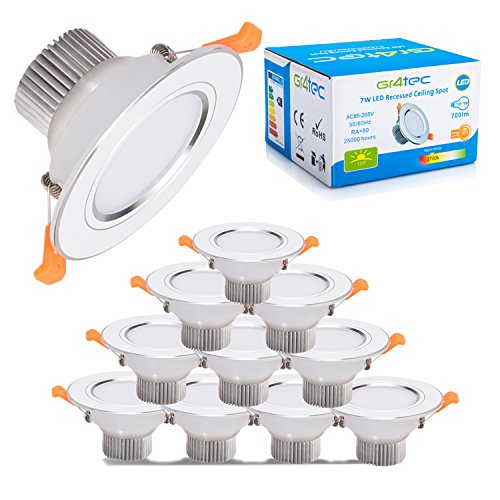 Gr4tec Foco Empotrable LED 10X 7W Downlight Plafón Luz de Techo Impermeable IP44 Blanco Cálido 2700K 700lm para Baño Cocina AC 85-265V 80Ra Transformador ...