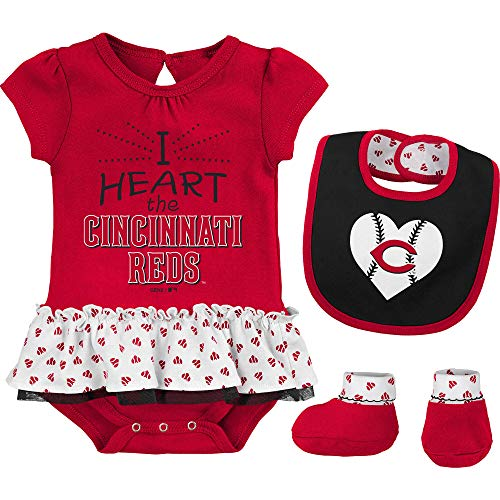 Outerstuff MLB Newborn & Infants Girls Baseball Girl Creeper, Bib, Bootie Set (3/6 Months, Cincinnati Reds)
