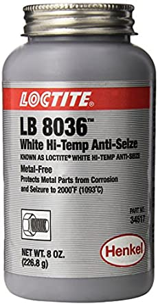 Loctite 34517 White LB 8036 High-Temperature Anti-Seize Lubricant, -20 Degree F Lower Temperature Rating to 2000 Degree F Upper Temperature Rating, 8 fl. oz. Brush Top Can