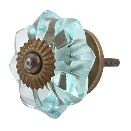 Melon Glass Collection - Indianshelf Handmade 12 Piece Turquoise Glass Melon Kitchen Pulls Artistic Rust Free Marigold Flower New Collection Drawer Knobs
