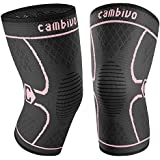 CAMBIVO 2 Pack Knee Brace, Knee Compression Sleeve Support for Running, Arthritis, ACL, Meniscus Tear, Sports, Joint Pain Relief and Injury Recovery (X-Large (21'' - 23''), Pink/Black)