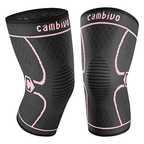 """CAMBIVO 2 Pack Knee Brace, Knee Compression Sleeve Support for Running, Arthritis, ACL, Meniscus Tear, Sports, Joint Pain Relief and Injury Recovery (X-Large (21"""" – 23""""), Pink/Black)"""