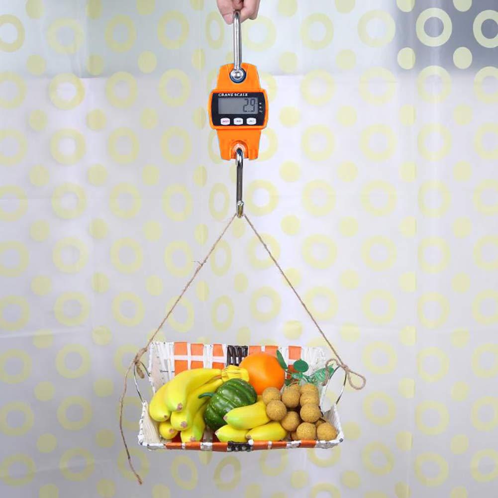 WskLinft Crane Scale Portable Stainless Steel Hook LCD Display Digital Crane Scale Weighting Meter Orange