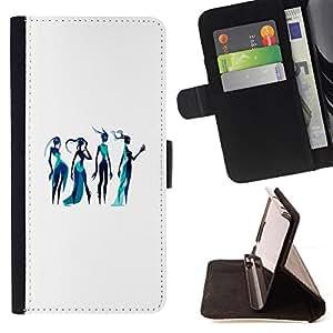 BullDog Case - FOR/Apple Iphone 5C / - / GODDESS ART FASHION SKETCH BLUE WATER WOMAN /- Monedero de cuero de la PU Llevar cubierta de la caja con el ID Credit Card Slots Flip funda de cuer