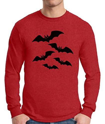 Awkward Styles Men's Halloween Bats Long Sleeve T Shirt Tee Halloween Bats Costume Idea Red (Halloween Costume Ideas Fast)