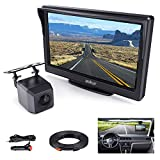Aokur Backup Camera Kit with 5'' TFT LCD Monitor IP68 Waterproof Starlight Night Vision Camera for Universal Car Trucks License Plate Rear View Camera Parking Assistance System Wired 120° Wide Angle