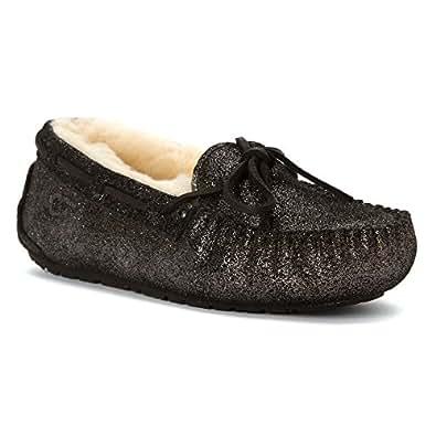 UGG Australia Girls' Dakota Glitter Slippers,Black,1 Child US
