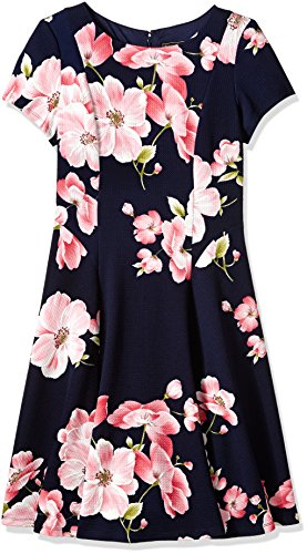 Jessica Howard Women's Fit and Flare Dress with Seamed Bodice, NVY/Pansy, 12